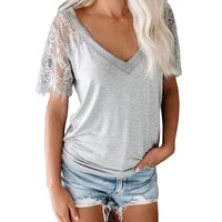 lace patchwork short sleeve women t shirt summer sexy deep v neck solid color casual loose streetwear elegant female tops