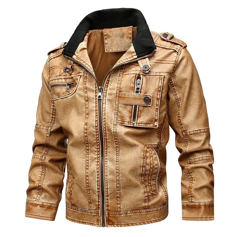 Men's Fashion Large Size Locomotive PU Leather Jacket Men's Plus Suede Leather Jacket Men's Faux Fur Pu Leather Jackets round toe pu leather loafers with faux fur