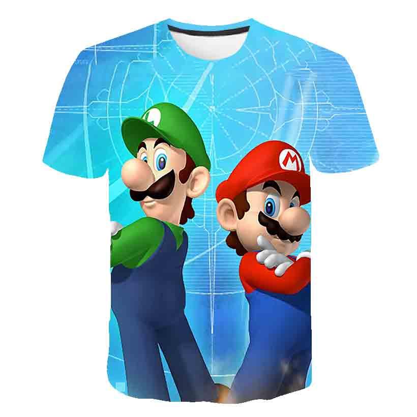 Camiseta de Mario Bros 3D para niños, camiseta de Mushroom Kingdom Luigi Nintendo Geek italiana, ropa de empalme Simple para niños y niñas