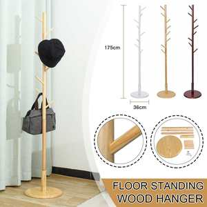 175cm Multifunction Solid Wood Hanger Floor Standing Coat Rack Organizer Hanger Hook Stand for Hats Scarves Clothes Handbags