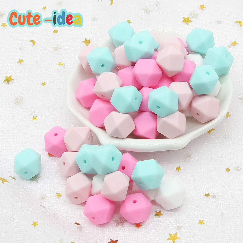Cute-idea 500pcs 17mm Hexagon silicone beads BPA Free Food Grade Baby Teether DIY Necklace Pacifier Chain Baby Teething Care