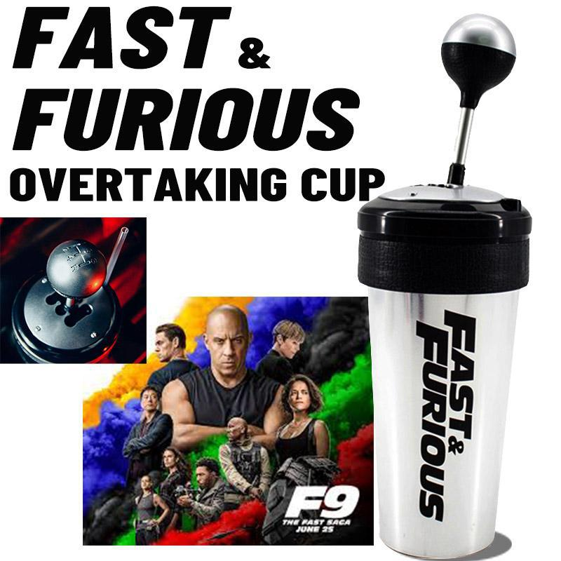 Fast and Furious 9 Movie Water Cup with Straw Fun Racing Shift  Cup Turbine  Shape Waterbottle Domin
