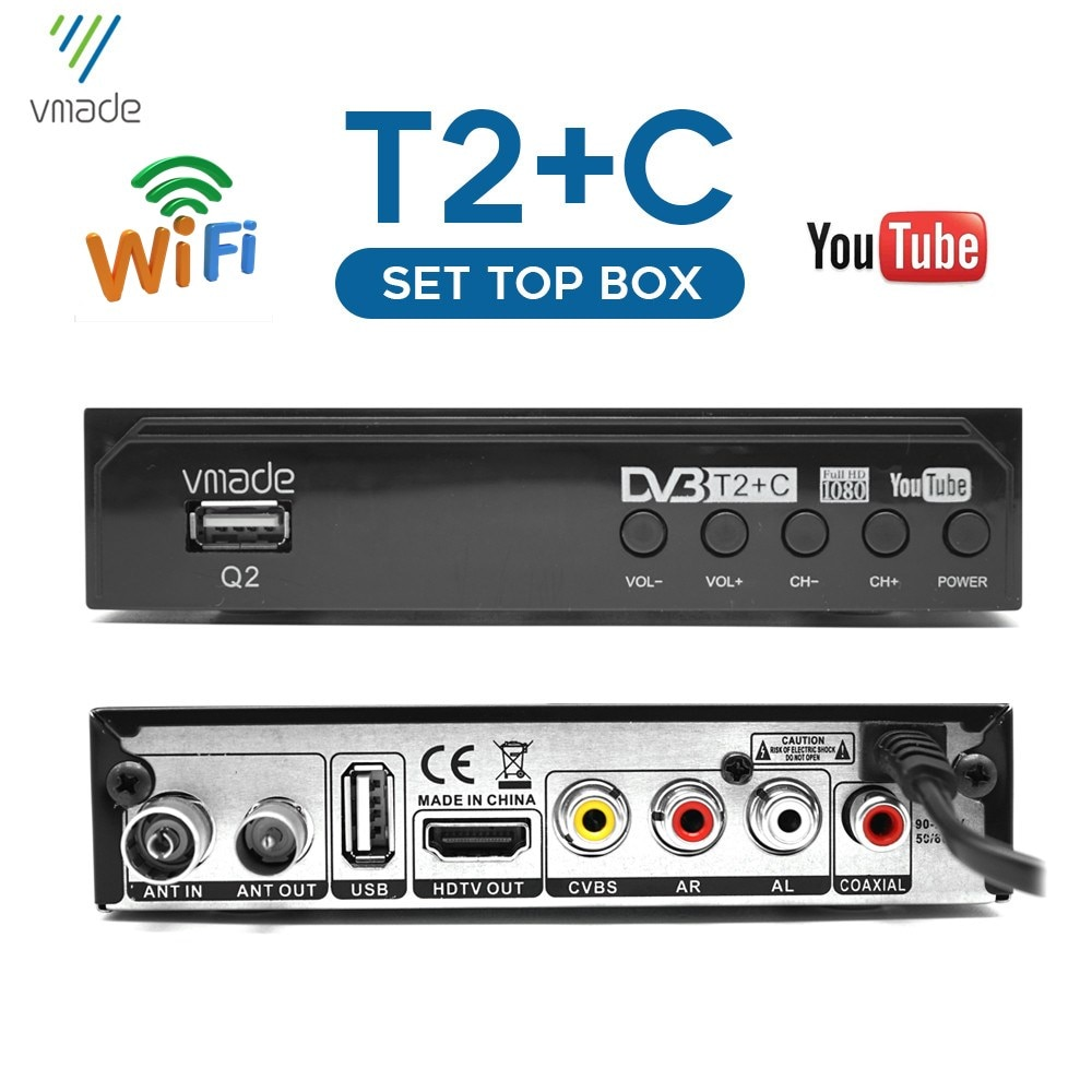 DVB-T2/DVB-C HD TV tuner digital terrestrial receiver Youtube  tv receiver decoder 1080P DVB-T H.264 m3u Russian set top box недорого