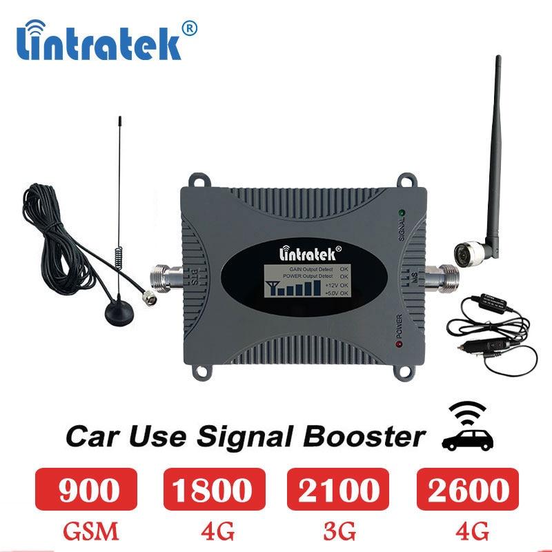 Lintratek uso del coche celular booster 2600mhz 4g 1800g repetidor de señal móvil gsm 900 lte 1800mhz 2600 umts 3g 2100 4g amplificador s4