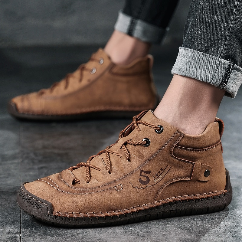 Plus Size 38-48 Split Leather Men Boots Handmade Ankle Boots Outdoor Men Winter Boots Keep Warm Wint