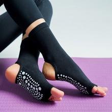 Caliente dos dedos Yoga calcetines silicona antideslizante Pilates de secado rápido calcetín pie talón algodón ventilación Ballet calcetín de baile para mujeres Fitnes