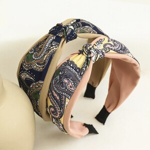 Korean Hair Accessories Middle Center Knotted Hairband New Ethnic Pattern Fabric Headband for Ladies