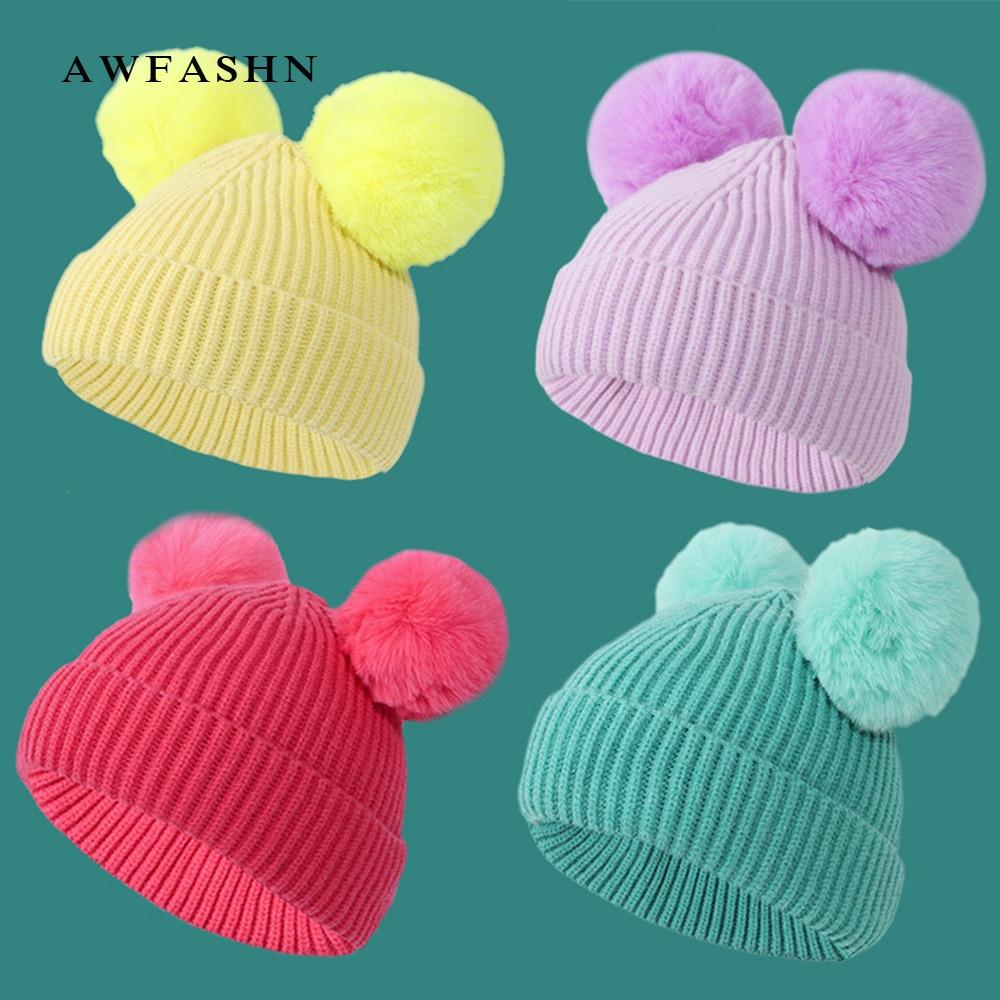 Marke kinder Pompom Hut Winter Warm Nette Beanie Kappe Baby Kind Mädchen Junge Bequeme Stricken Hut Flauschigen Bommel Solide farbe Hut Neue