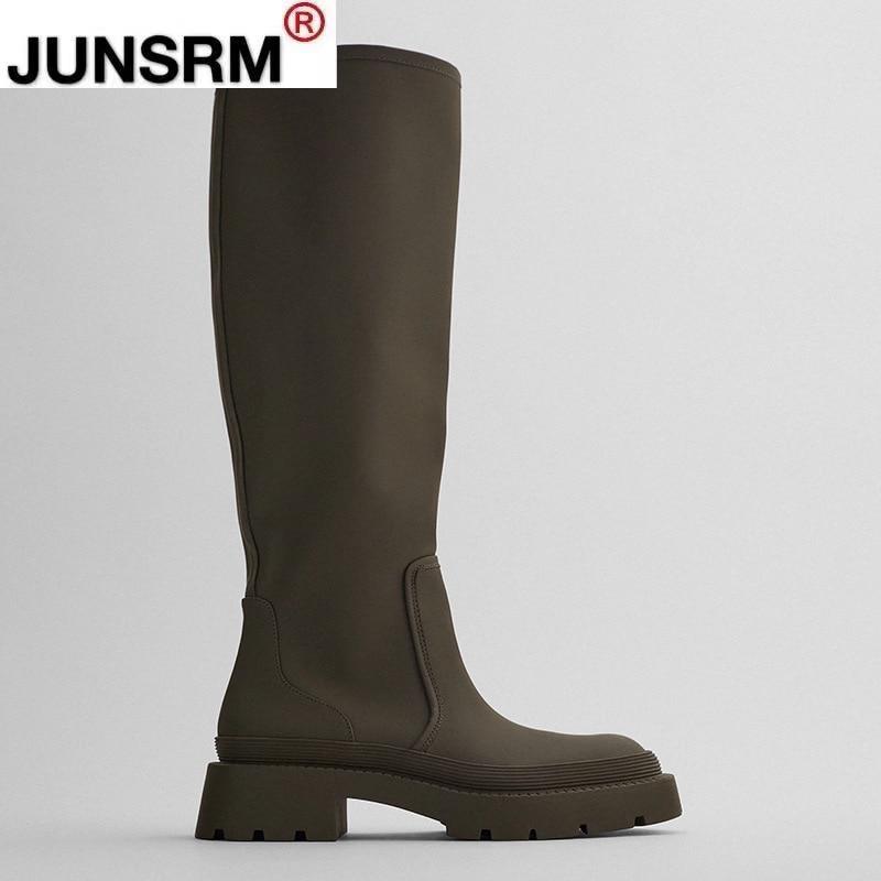 Fahion women Genuine Leather Calf Height Women Boots 2020 New Winter Platform Long Knight
