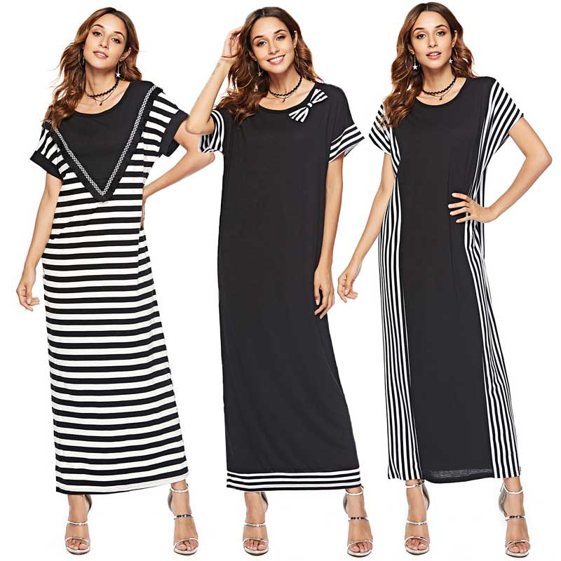Mulheres verão manga curta maxi vestido listrado impresso abaya ramadan kaftan dubai robe islâmico vestido judaico