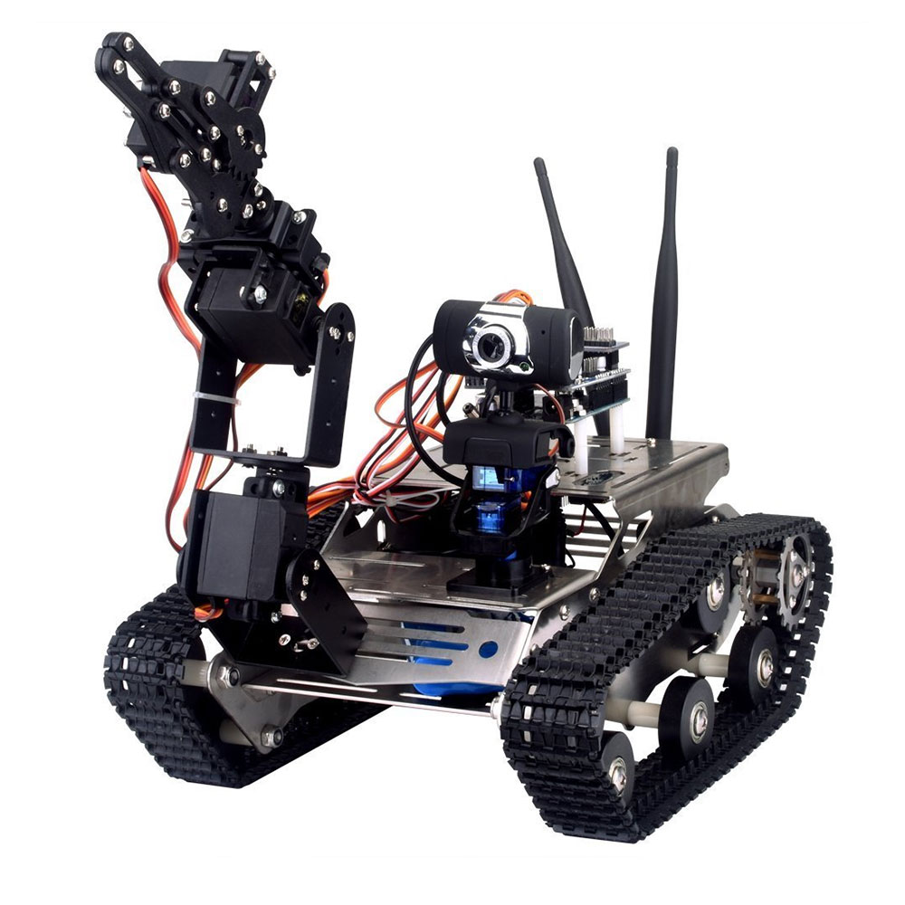 Unfinished Smart Robotic Car Kit + A1 Robot Arm Standard Version Black WIFI Robot Tank Kit