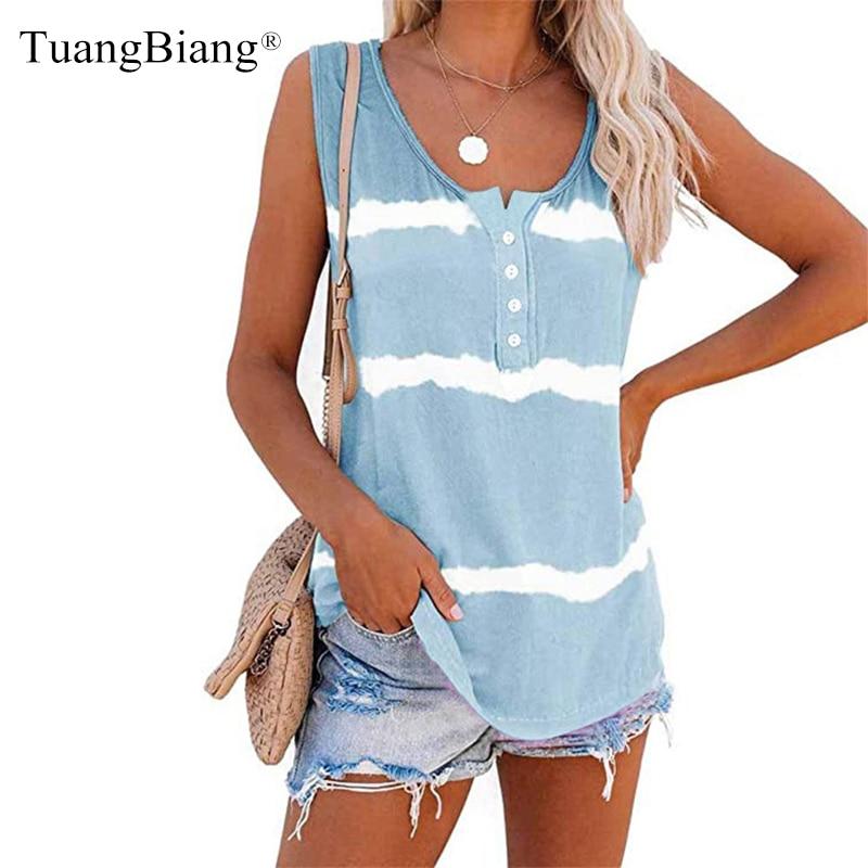 2020 mujeres sin mangas de verano Tie-dye de algodón de las señoras chaleco azul camisetas a rayas de moda Casual o-Cuello púrpura Tops