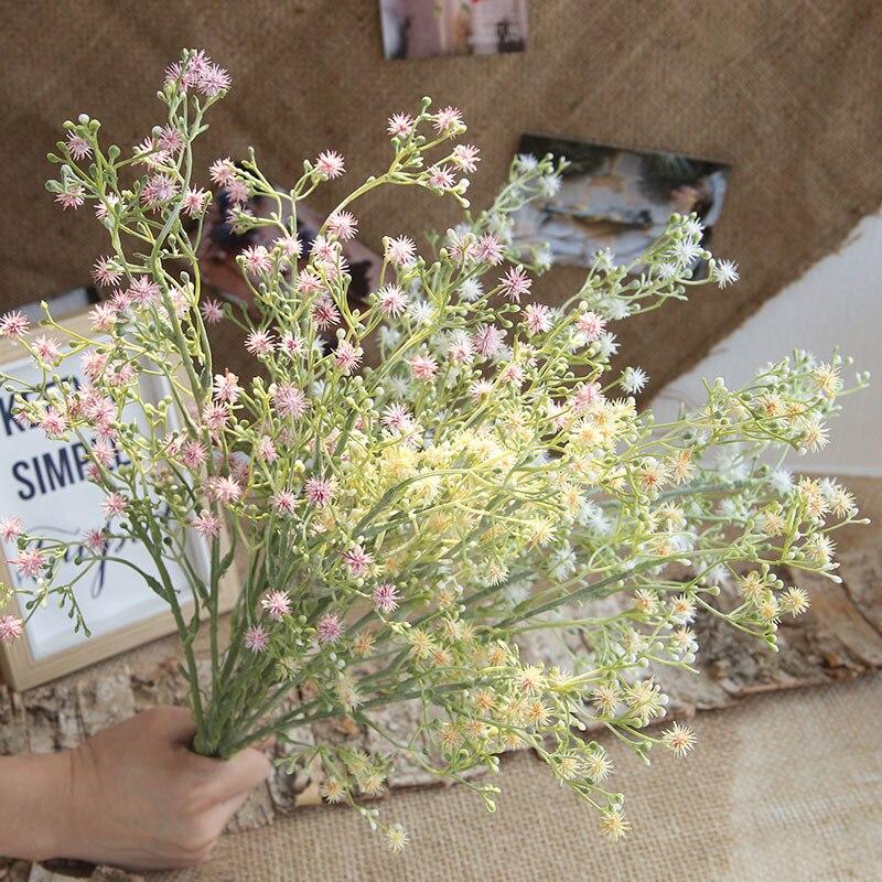 Fleurs gypsophila artificielles 5 branches   Décoration de jardin, balcon, maison, fleurs artificielles en plastique pissélion, décoration de mariage