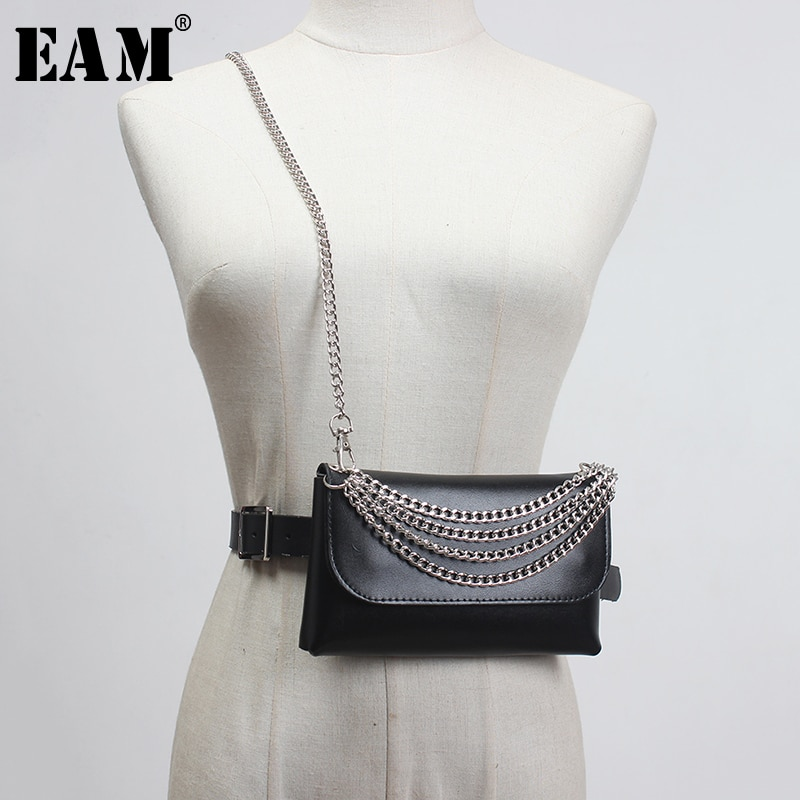 [Eam] couro do plutônio preto mini-saco corrente sttich longo largo cinto personalidade feminina nova moda maré all-match primavera 2020 1x062