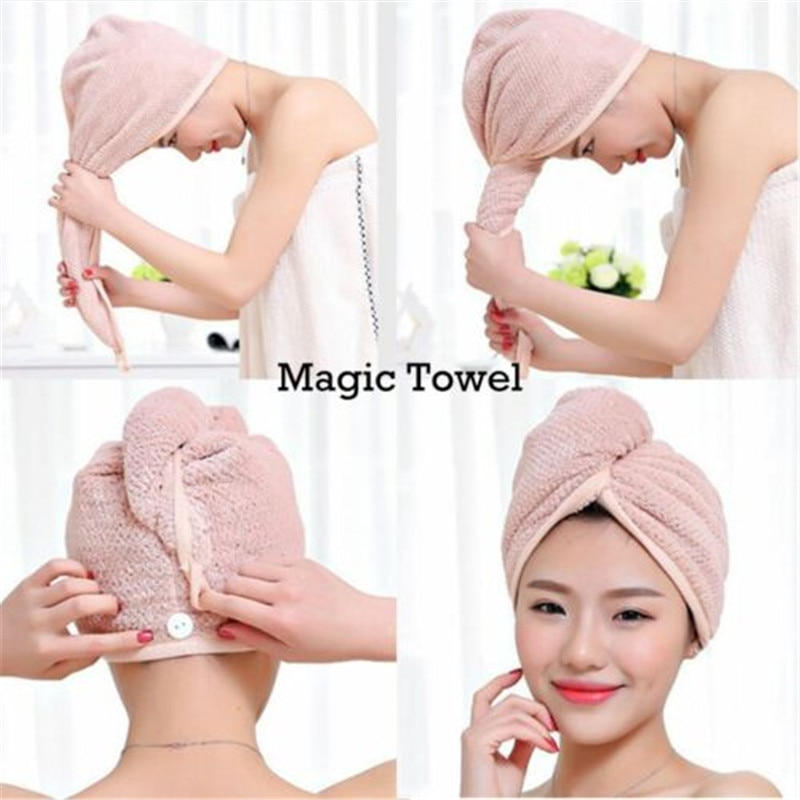 Women Hair Quick Drying Microfiber Bath Spa Towel Turban Knot Twist Loop Wrap Hat Cap For Bath Bathr