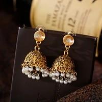 womens gypsy gold carved bells beads indian jhumka earrings bohemian retro white rhinestone pearls tibetan earrings oorbellen