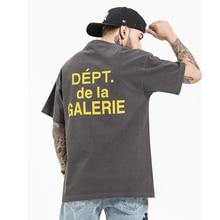 High Street ล้างพิมพ์ผ้าฝ้ายเสื้อบุรุษแขนสั้นหลวมสบายๆฤดูร้อน T เสื้อ O คอ Oversize Hip Hop tees
