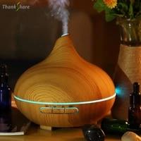 Thank share     diffuseur dhuile essentielle et darome  humidificateur dair ultrasonique  Grain de bois  lumieres LED aux 7 couleurs changeantes pour maison et bureau  400ML