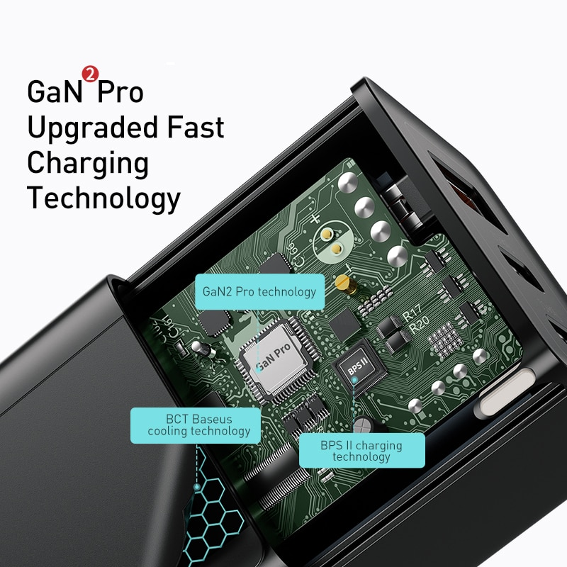 Устройство зарядное сетевое Baseus с USB-портами и поддержкой быстрой зарядки, 65 Вт