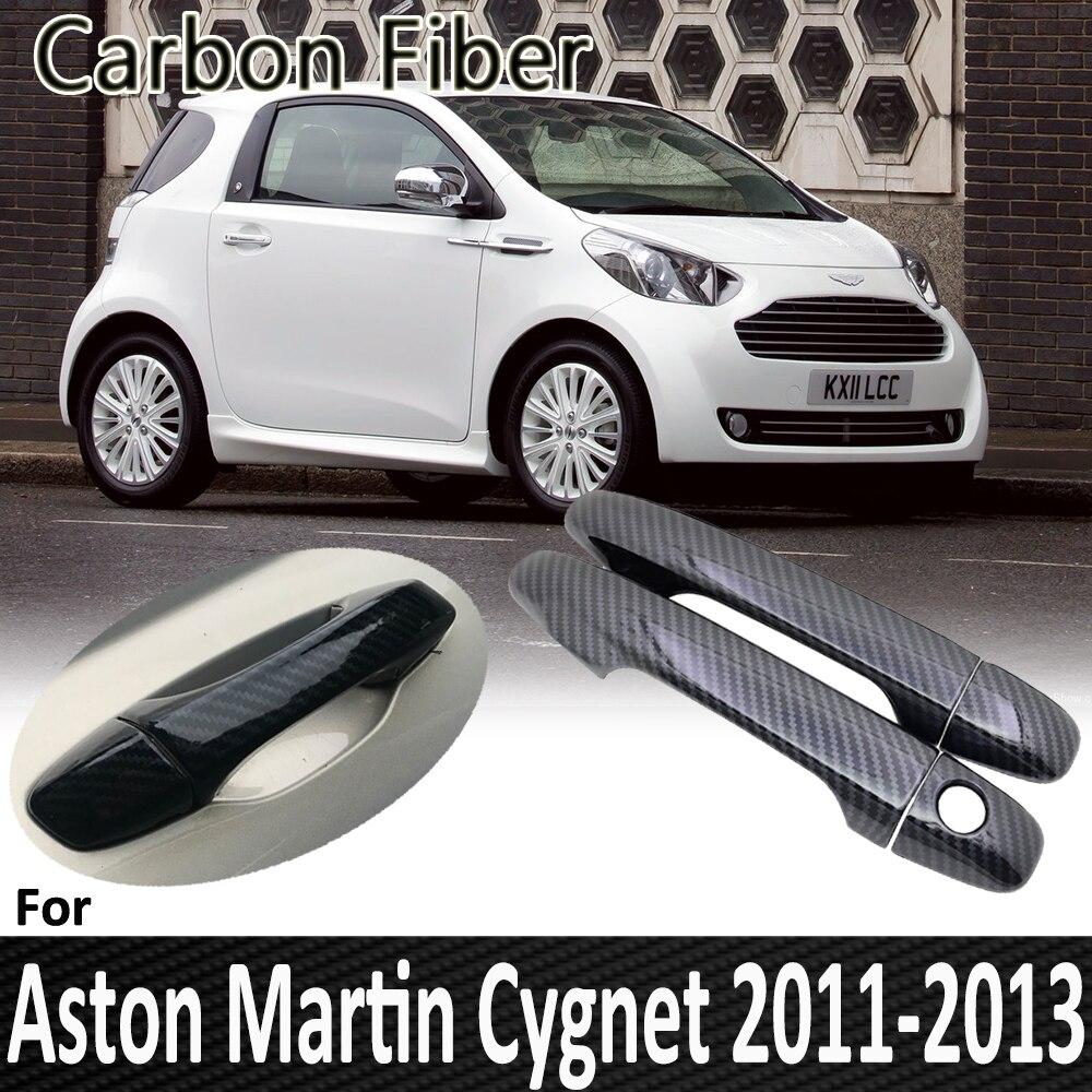 Fibra de carbono preto para aston martin cygnet aj10 10 2011 2012 2013 chrome maçaneta da porta capa reequipamento acessórios do carro