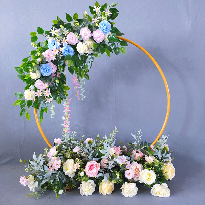 2021 Metal Circle Wedding Mariage Round Arch Balloon Flower Iron Ring Background Frame Stand Birthday Party Baby Shower Decor