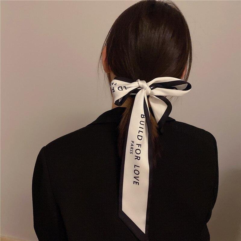 Новинка 2021, шелковый шарф с надписью, ленточный стример, Французский Ретро стиль, ветрозащитная сумка, весна и осень, завязка для волос