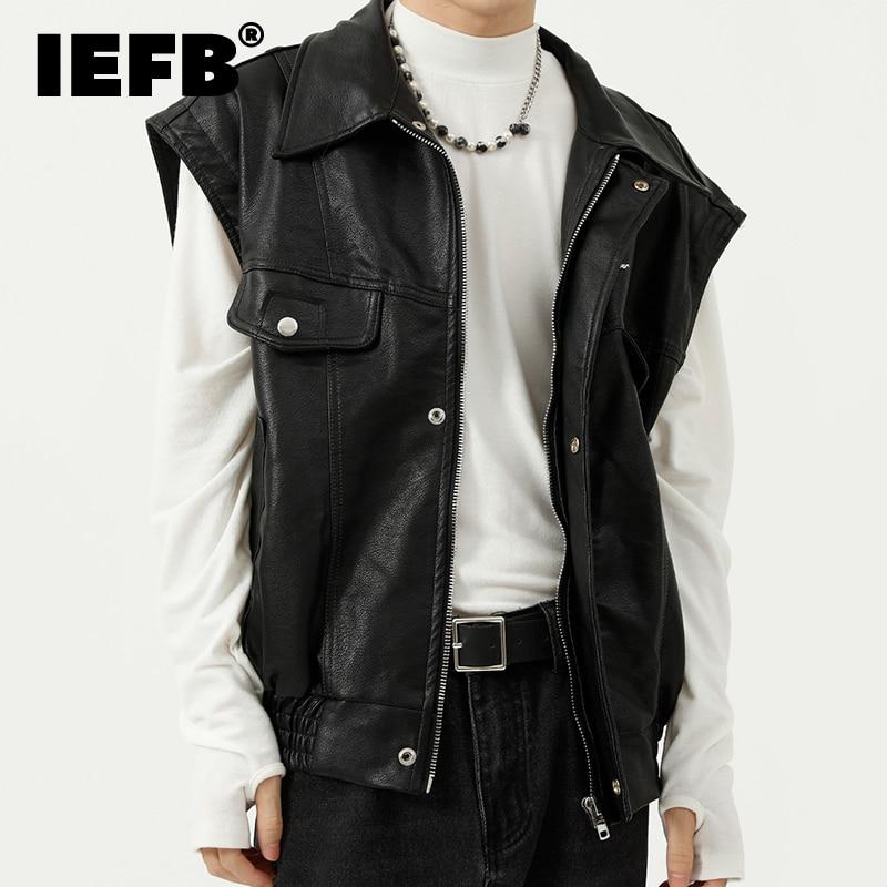 IEFB الرجال ارتداء جديد الخريف الأمريكية صدرية بولي PU سترة جلد الرجال التلبيب أكمام عادية فضفاض أسود بلايز عالية الجودة 9Y8997