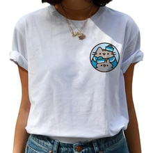 Kawaii Pusheen Harajuku T Hemd Frauen Nette Katze Lustige Cartoon T-shirt Ullzang 90s Anime T-shirt Mode Korea Stil Top t Weibliche