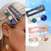 3 piece set pearls acetate hollow haar clip for women headwear acrylic hairpins barrettes pin accessories hair jewelry