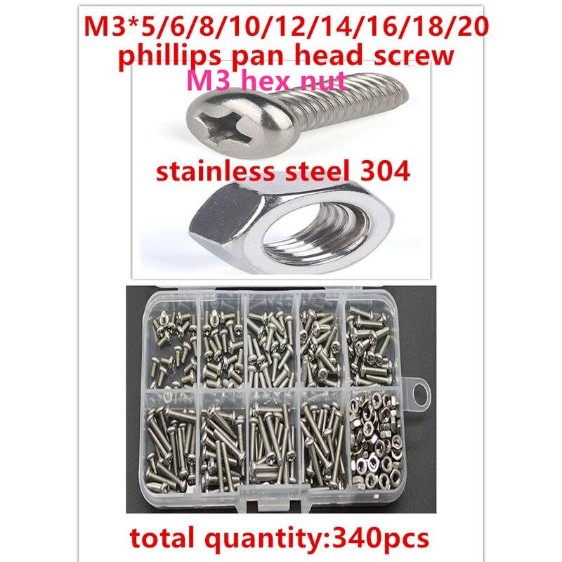 340 قطعة/الوحدة M3 * 5-M3*20 الفولاذ المقاوم للصدأ 304 فيليبس عموم رئيس برغي مجموعة عرافة الجوز مع مربع تشكيلة أطقم موضوع إصلاح عدة 79