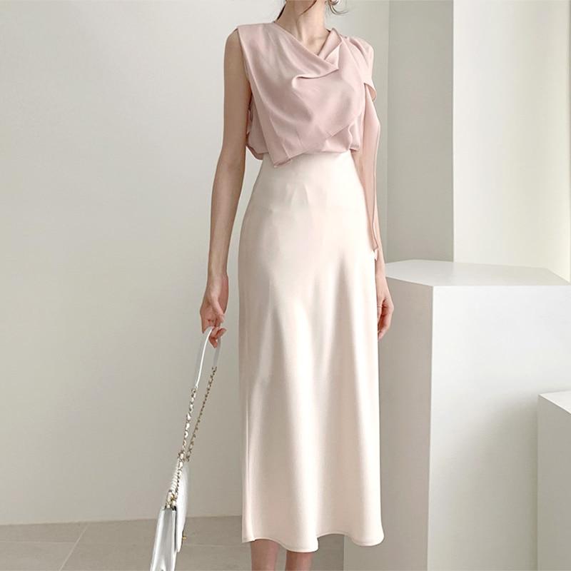أنيقة عالية الخصر الحرير تنورة المرأة عادية ألف خط ميدي الحرير ضئيلة الصيف الخريف