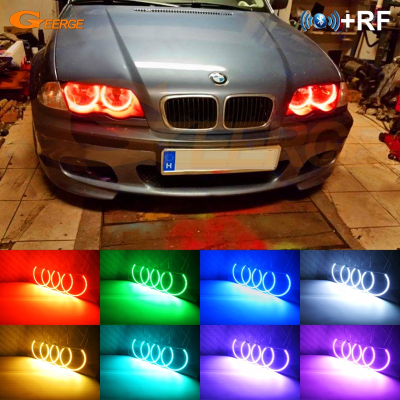 For BMW E46 Convertible Coupe LCI 2003 2004 2005 2006 Halogen Headlight RF Bluetooth APP Multi-Color RGB led angel eyes kit