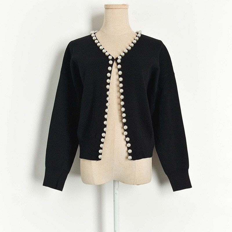Runway Women Cardigan 2020 Spring Pearls Beaded Buckle Long Sleeve Open Stitch Sweater Coat Cardigan Knitted Outfits Coat Black enlarge