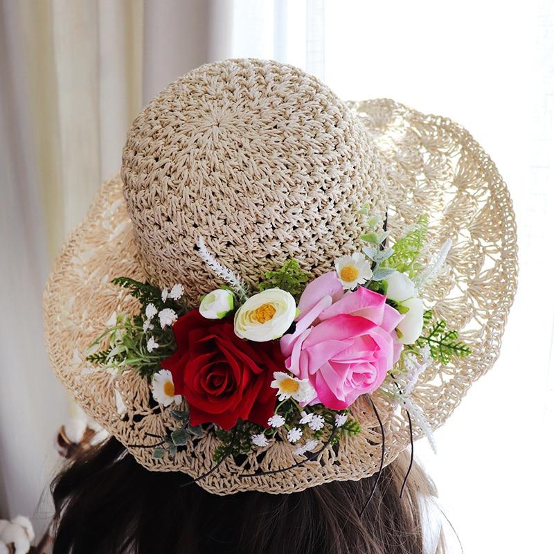 Nueva llegada puerta de la boda sombrero de sol de playa rosas...