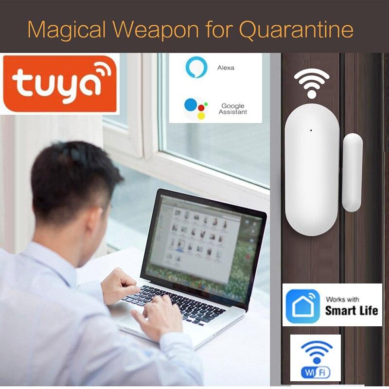 Tuya     capteur douverture de porte  wi-fi  pour maison connectee  alarme de securite  Notification  application Tuya  compatible avec Alexa et Google Home