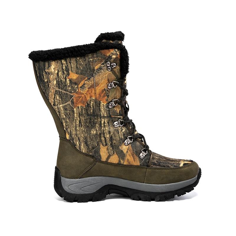 الرجال أحذية التنزه التمويه الصيد الثلوج الأحذية Hight علوي السفر الصيد الشتاء الأحذية مشبك الأربطة منصة منتصف العجل الجوارب
