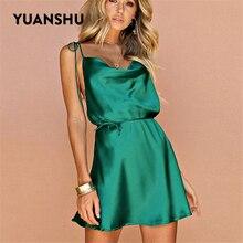 YUANSHU été vert robe Sexy femmes brillant Satin col bénitier à lacets dos nu robe de soirée dames décontracté a-ligne Mini robe