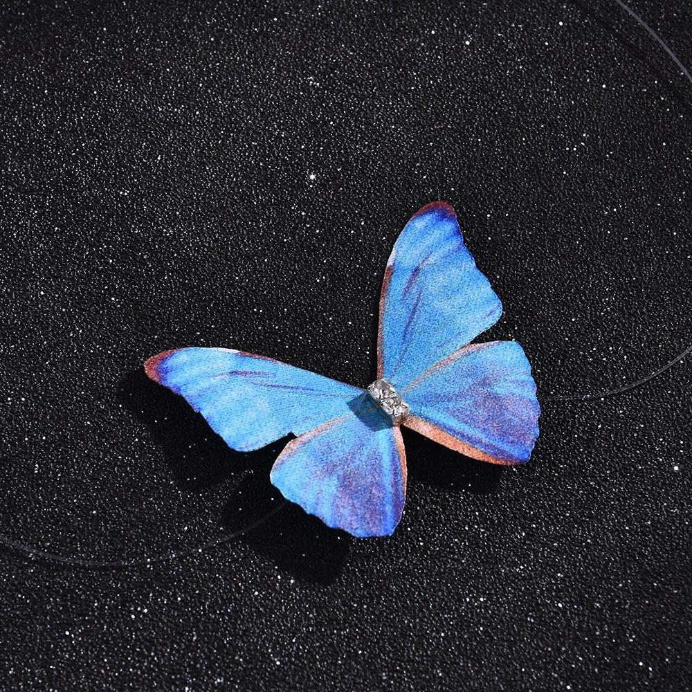 Coreano fada menina borboleta clavícula corrente doce romântico tule transparente invisível linha de peixes colar curto