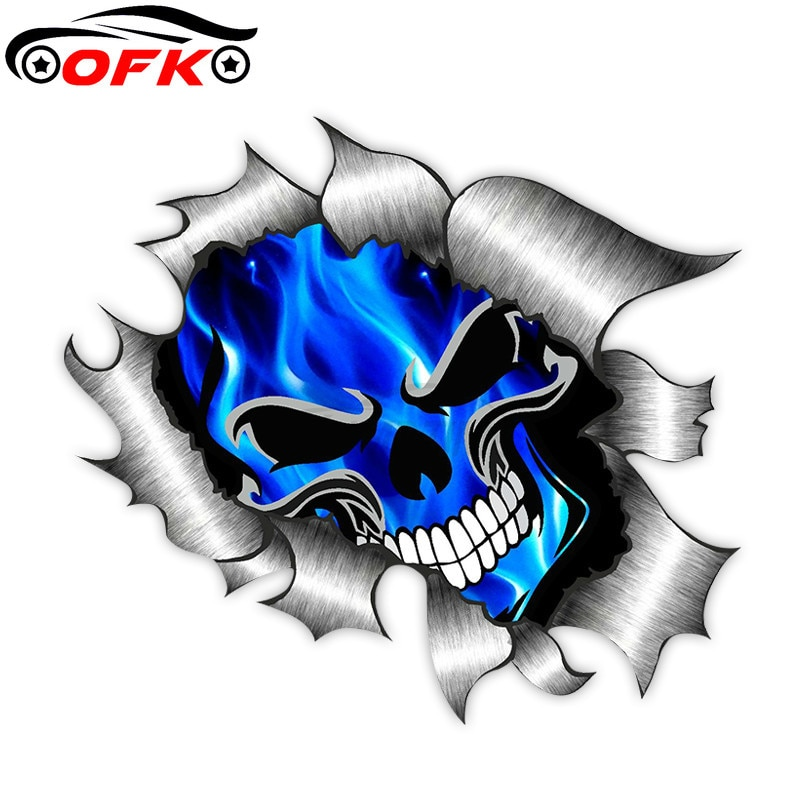 AliExpress - Car Stickers Decor Motorcycle Decals Skull & Electric Blue Flames  Decorative Accessories Creative Waterproof PVC,13cm*13cm