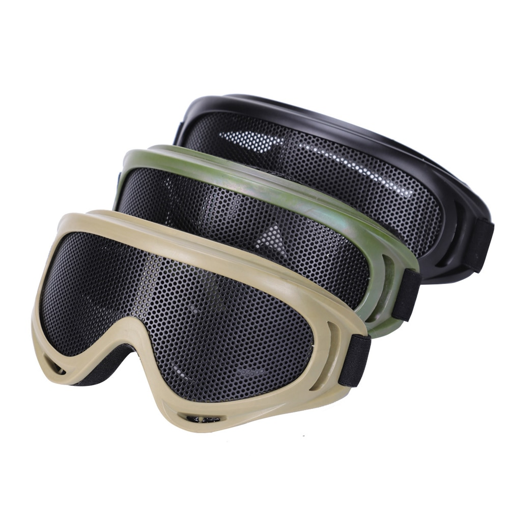 Tactical Paintball Goggles Hunting Metal Mesh Goggles Airsoft Safety Tactical Glasses Outdoor Game Shock Resistance Eyewear