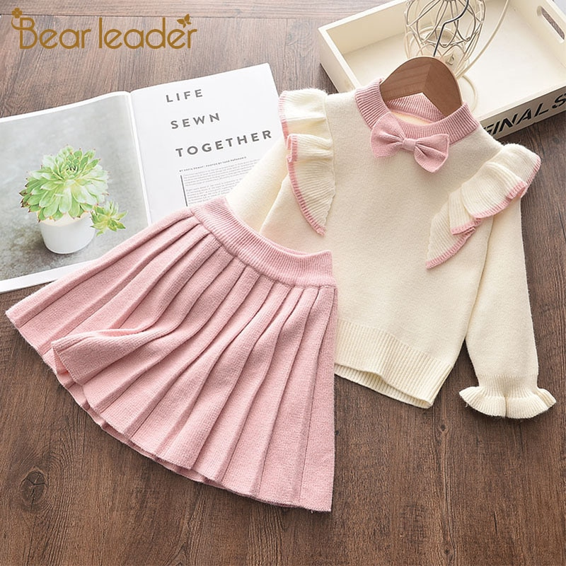 fall winter long sleeves pants cotton set grey stripes rufflepumpkin print pant baby kids wear girls clothing with accessory bow Bear Leader Girls Winter Clothes Set Long Sleeve Sweater Shirt Skirt 2 Pcs Clothing Suit Bow Baby Outfits for Kids Girls Clothes