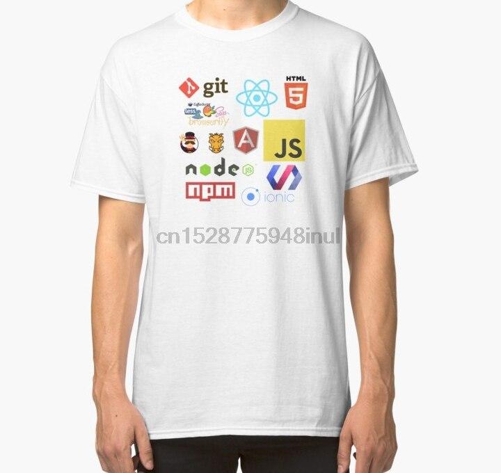 Homens de manga Curta camiseta Javascript Adesivos Canecas camisetas e casos de Telefone Clássico T Shirt t-shirt Das Mulheres
