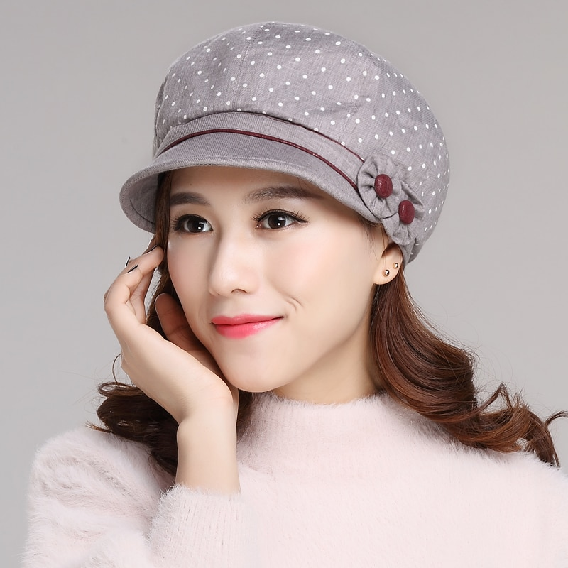 New Arrival Fashion  Hat Female Korean Leisure Cap Students Beret Cap Autumn Elegant Spring Sun Hat