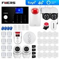 Systeme dalarme de securite pour maison connectee Tuya  wi-fi  4G  GSM  3mp  camera exterieure  capteur de fumee  application Alexa  clavier tactile
