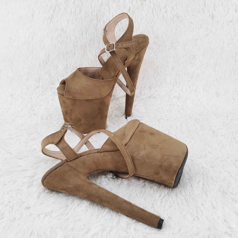 Leecabe 20cm/ 8inches  suede upper toe open  fashion sexy  lady platform high heel   sandals  pole dance shoes