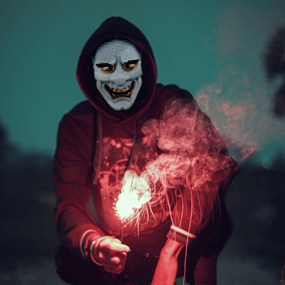 Japanese Fox Mask Halloween Christmas Decor Costume Props Neon Led Luminous Joker Mask Carnival Festival Light Up Changing Mask