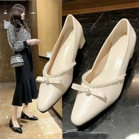 springautumn fashion the new woman shoes butterfly knot string bead square heel pointed toe casual slip on med 3cm 5cm solid
