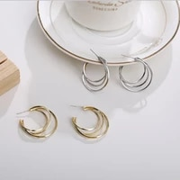 gold silver color metal hoop earring for woman vintage triple open circle c shaped statement earrings accessories brincos