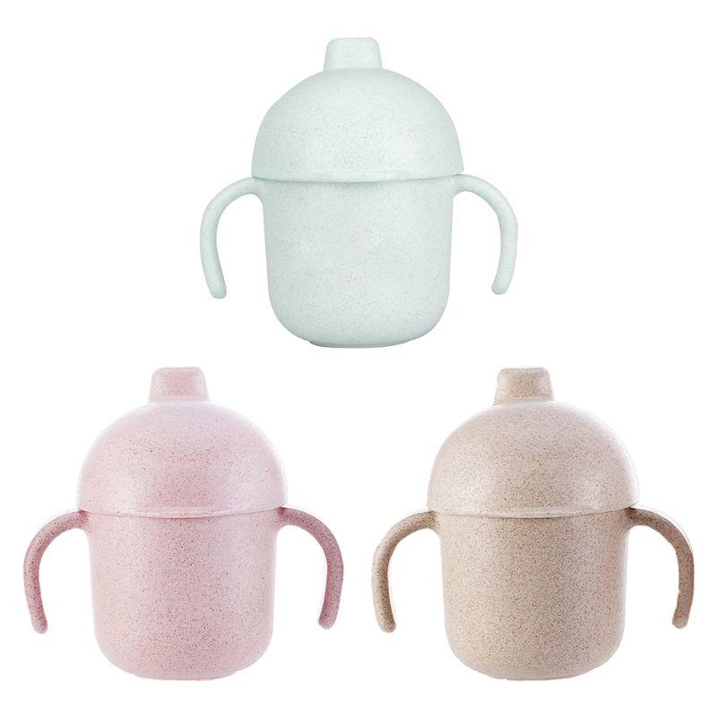 Doble ASA bebé botella irrompible taza de paja de trigo portátil de la taza H37F
