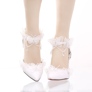 White Lace Butterfly Crystal Stiletto Heel Wedding Shoes high heel vintage lace bowknot kawaii shoes cosplay loli women sweet